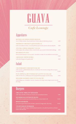 Cafe Lounge Menu