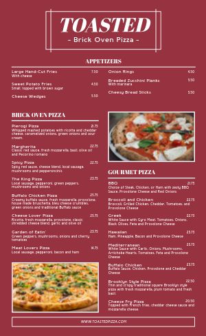 Brick Oven Pizza Menu