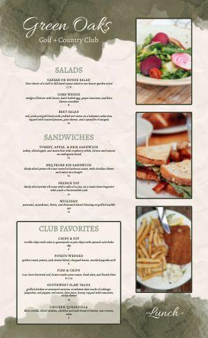Country Club Sample Menu