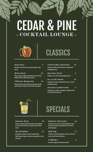 Cocktail Drink Menu