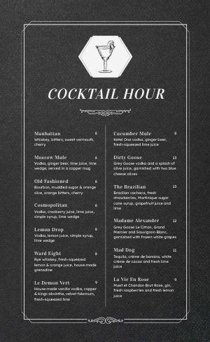 Chalkboard Cocktail Menu