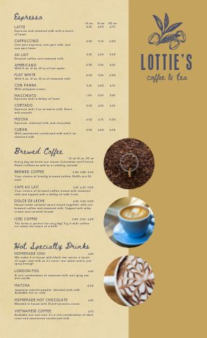 Coffee Menu Idea