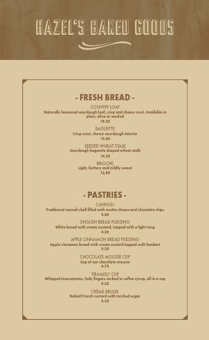Simple Bakery Menu