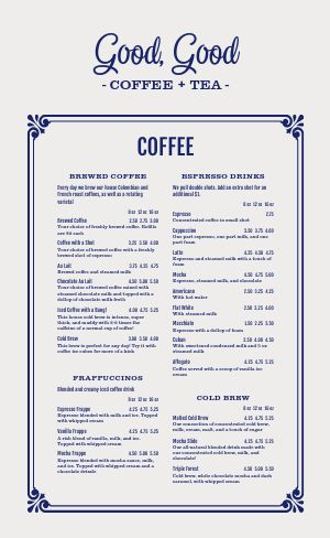 Printable Coffee Menu