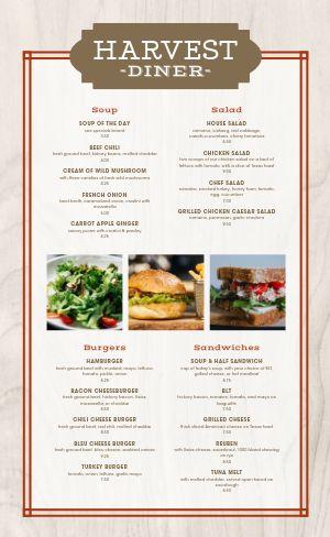 Woodgrain Diner Menu