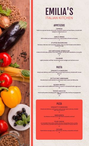 Italian Kitchen Menu