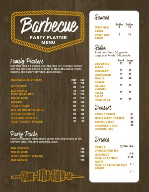 Barbecue Party Platter Menu