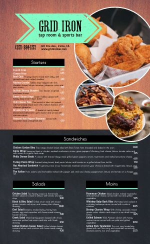 Bright Sports Bar Menu