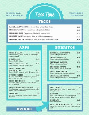 Taco Food Cart Menu