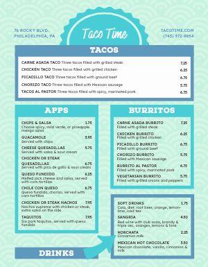 Taco Food Cart Menu