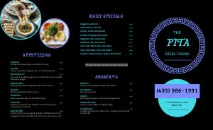 Neon Greek Takeout Menu
