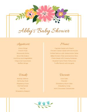 Baby Shower Dinner Menu