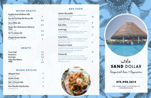 Beach Tropical Bar Folded Menu