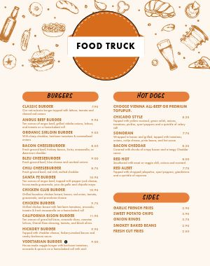 Burger Food Truck Menu Poster