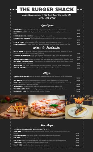 Burger Pizza Menu