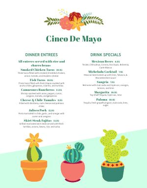 Example Cinco De Mayo Menu
