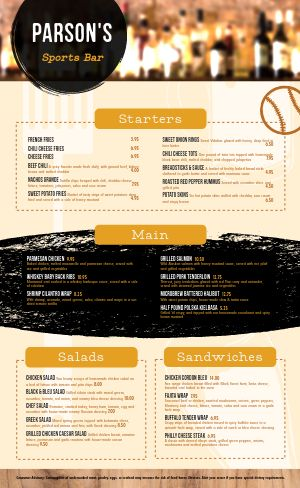 Traditional Sports Bar Menu