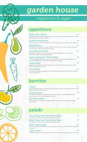 Garden Vegan Menu