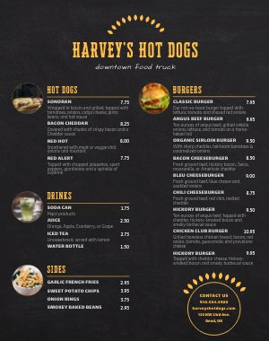 Hot Dog Menu Poster