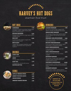 Hot Dog Menu Poster