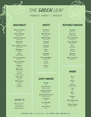 Green Farmers Market Menu