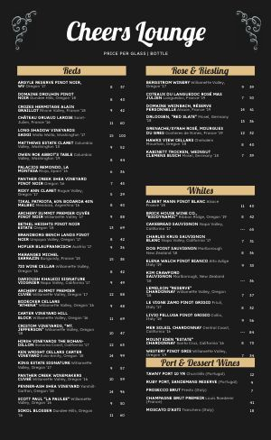 Customizable Cocktail Menu