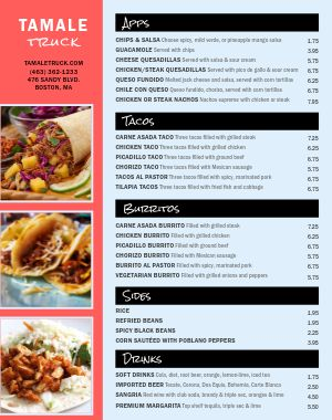 Mexican Food Truck Menu Poster