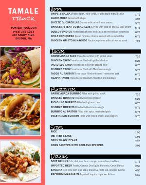 Mexican Food Truck Menu Poster