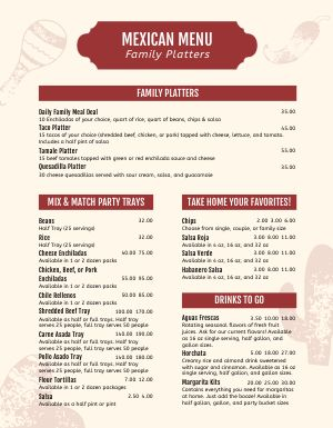 Restaurant Family Platter Menu