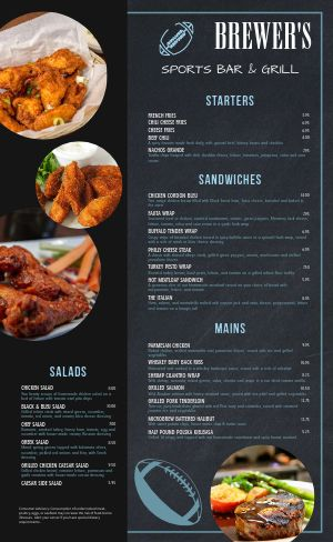 Game Day Sports Bar Menu