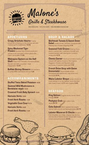 Steak Grill Menu