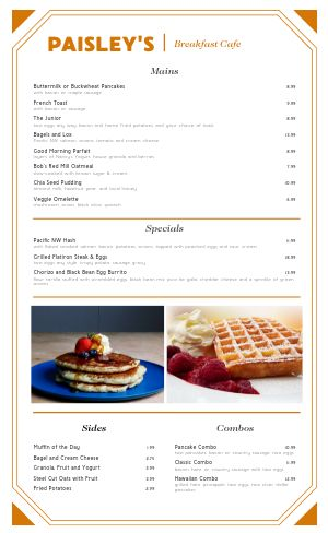 Breakfast Cafe Menu Example