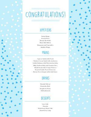 Congratulations Party Menu