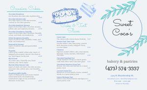 Bakery Tart Takeout Menu