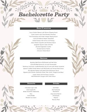 Bachelorette Party Menu Example