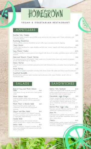Rustic Vegan Menu