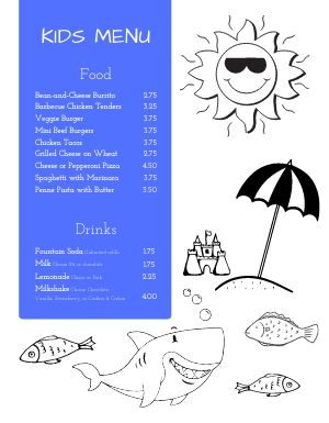 Beach Kids Menu