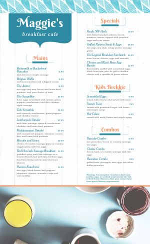 Happy Hour Breakfast Menu