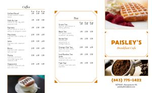 Breakfast Cafe Takeout Menu Example