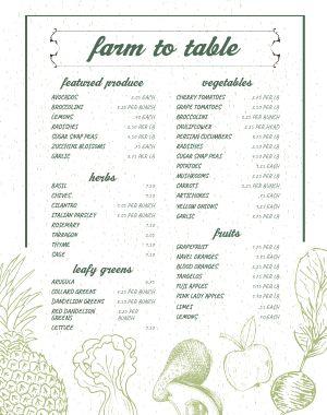 Organic Farmers Market Menu Poster