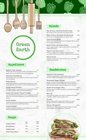 Casual Vegan Menu