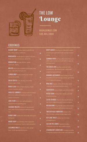 Printable Cocktail Menu