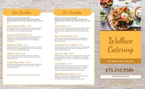 Catering Takeout Menu Sample