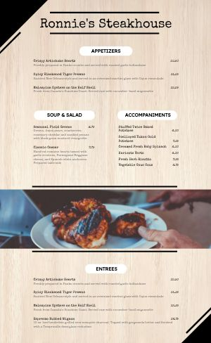 Contemporary BBQ Menu