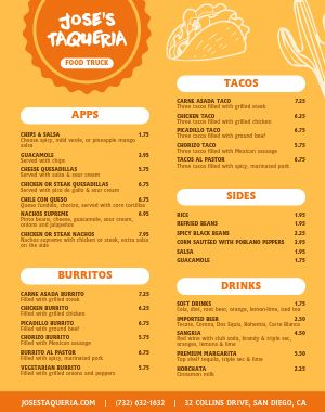 Taqueria Food Truck Menu Poster