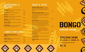 Contemporary African Takeout Menu