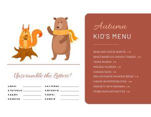 Autumn Kids Menu