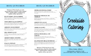 Floral Catering Takeout Menu