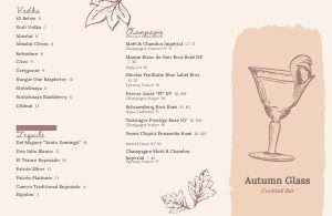 Autumn Cocktail Folded Menu