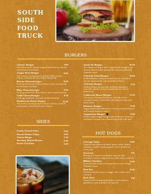 Example Food Truck Menu